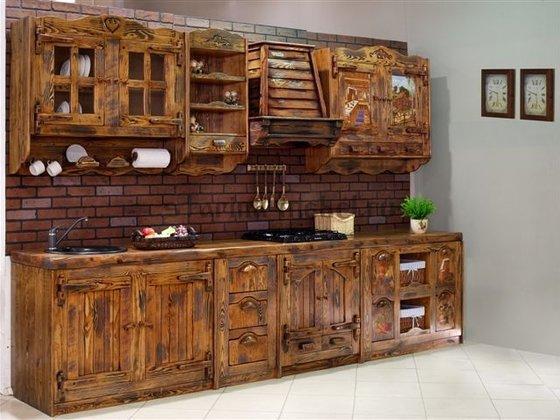 Кухни под старину из дерева фото своими руками